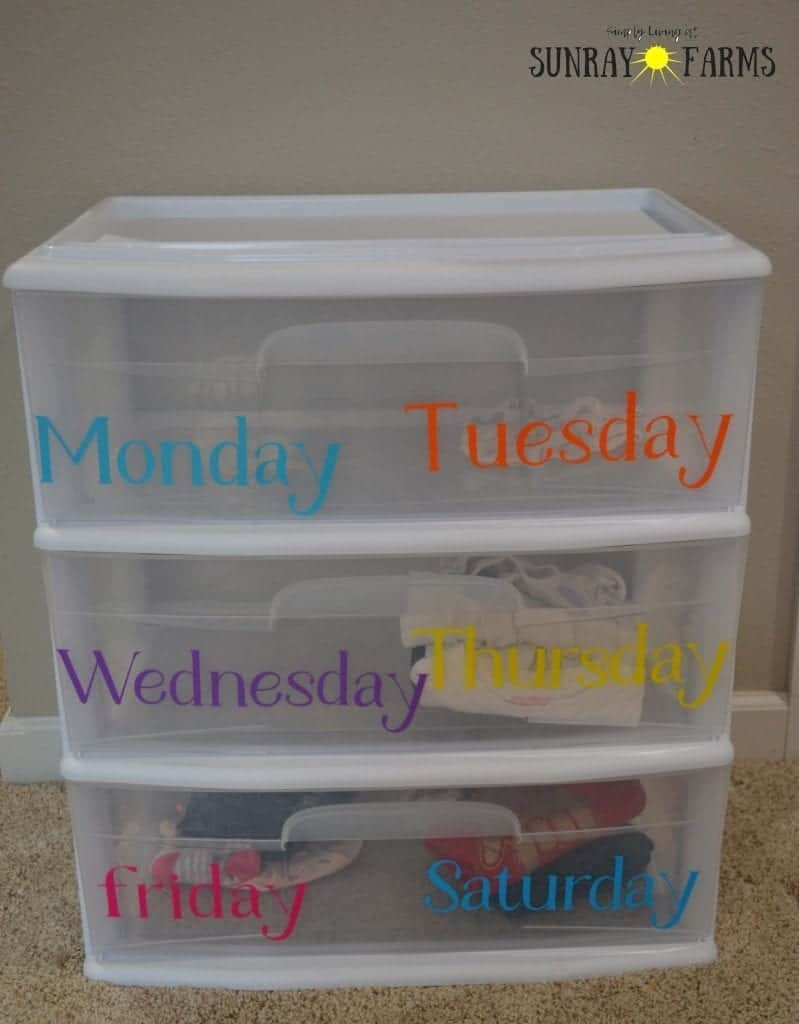 Plastic drawer unit labeled with days of the week