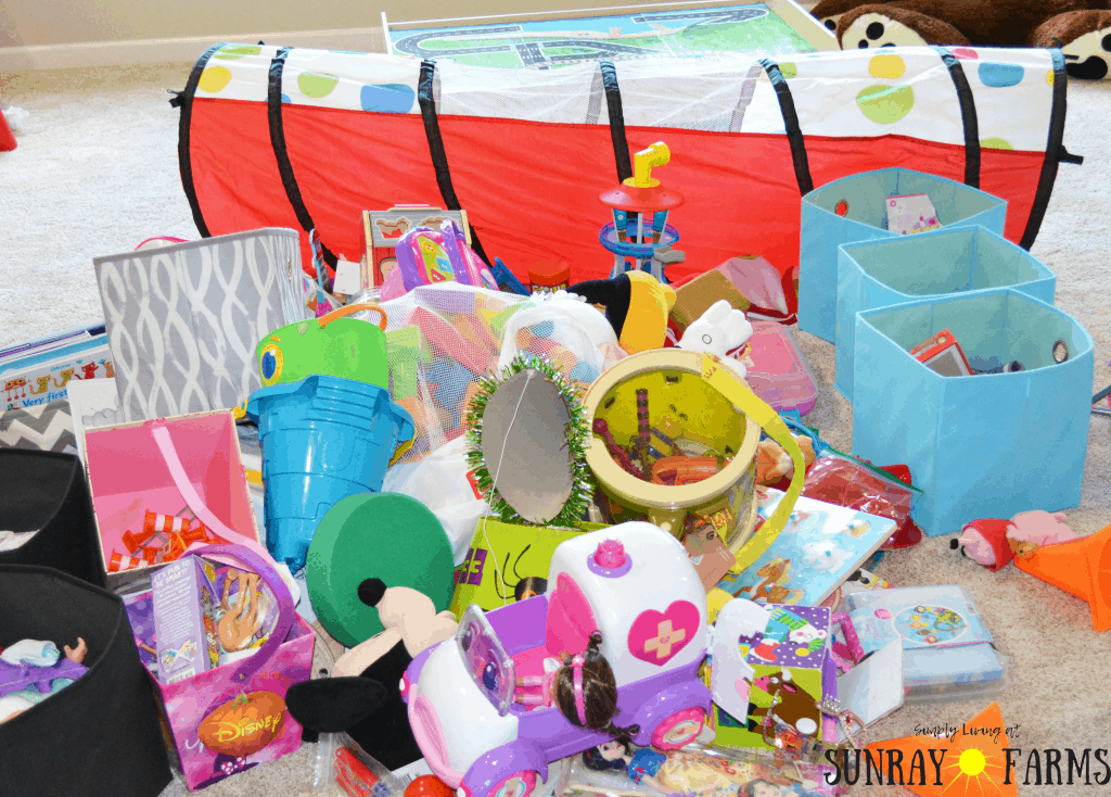 A large pile of children's toys