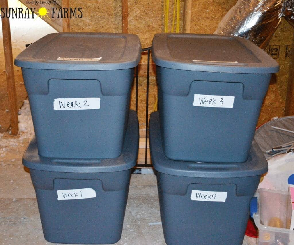 Storage tubs in the attic