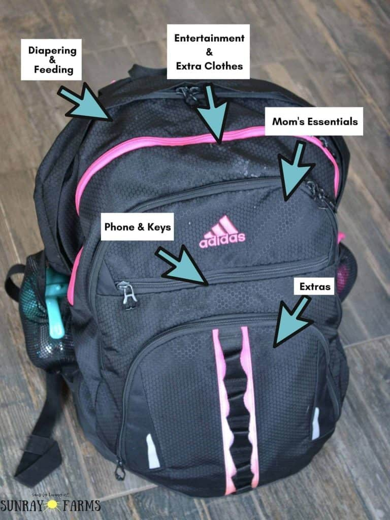 Black Adidas backpack that is used as a diaper bag for twins