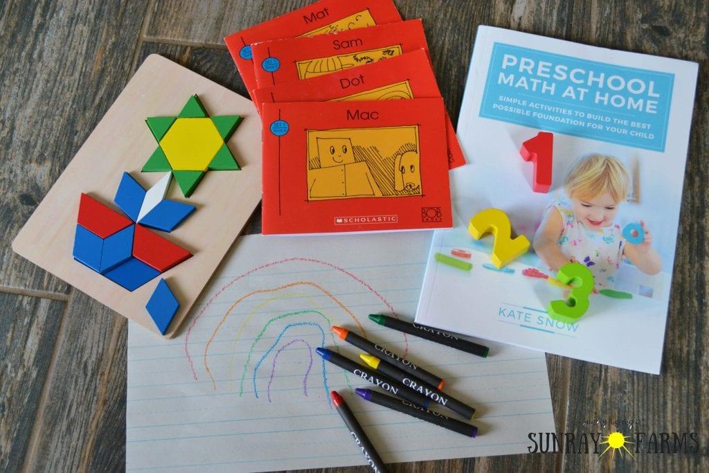 Homeschool supplies- pattern blocks, BOB books, Preschool Math at Home, crayons